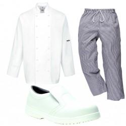 veste-cuisine-blanche-pantalon-pied-de-poule-chaussure-cuisine-blanche