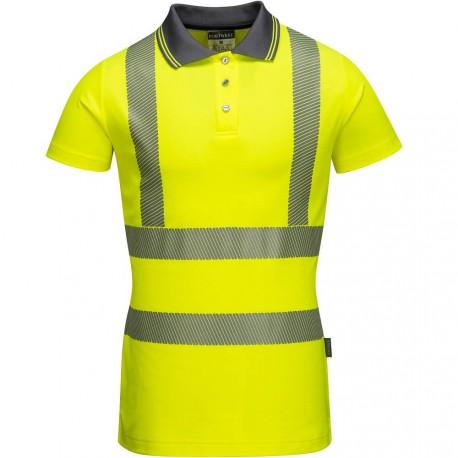 polo de travail femme jaune norme EN20471