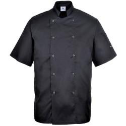 Veste de cuisine noire manches courtes CUMBRIA