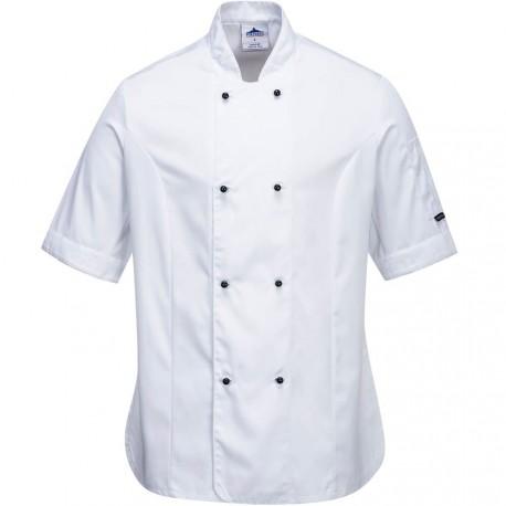 veste de cuisine femme blanche manches courtes