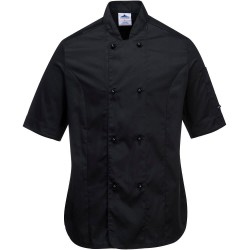 Veste de cuisine femme noire manches courtes