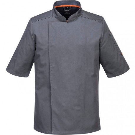 veste-de-cuisine-grise-manches-courtes-respirante