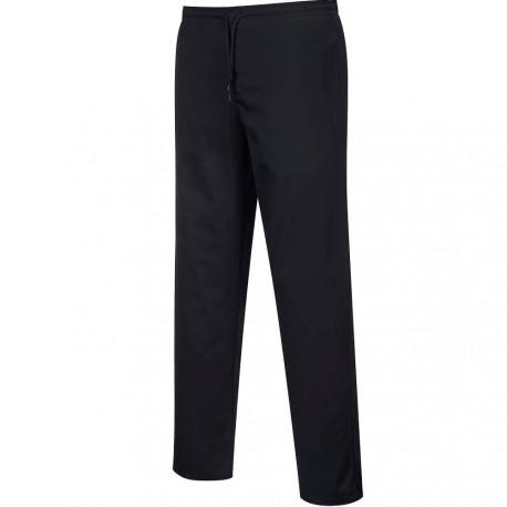 Pantalon de cuisine noir élastiqué