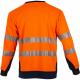 Tee shirt haute visibilite orange manches longues respirant LMA