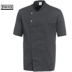 Veste cuisine grise manches courtes Stretch Tailles S-XL-3XL