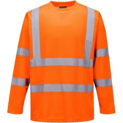 T-shirt orange haute visibilité Manche Longue EN 20471