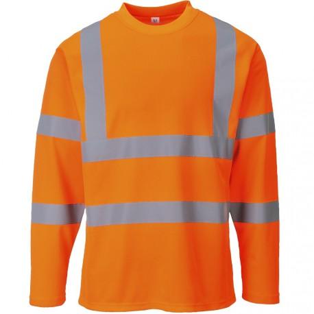 T-shirt orange haute visibilité Manches Longues EN 20471