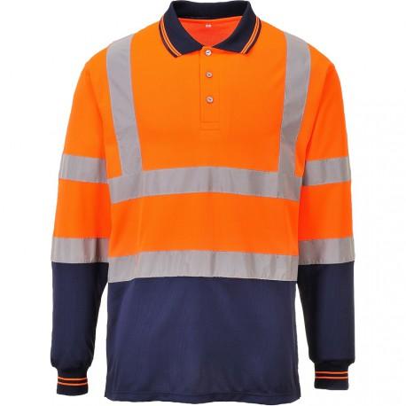 Polo orange haute visibilité Manches Longues EN 20471