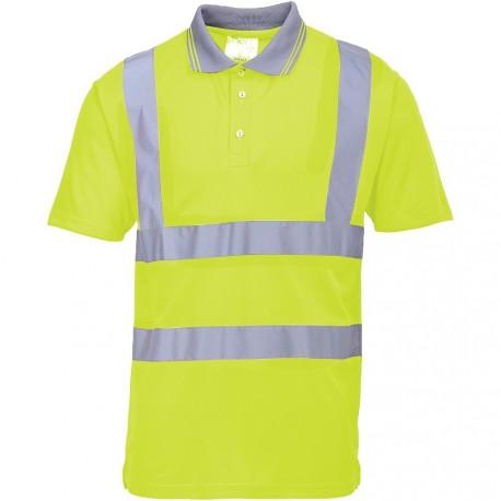 Polo de travail jaune Manches Courtes haute visibilité EN 20471