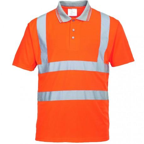 Polo de travail orange Manches Courtes haute visibilité EN 20471
