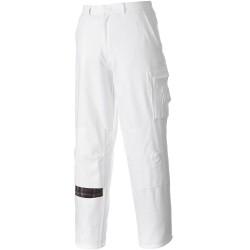 Pantalon de travail blanc coton poches genoux