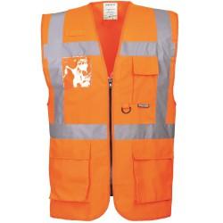 Gilet haute visibilité orange multipoche Norme EN 20471