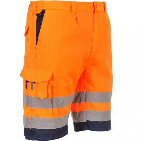 Short de travail orange haute visibilité EN 20471